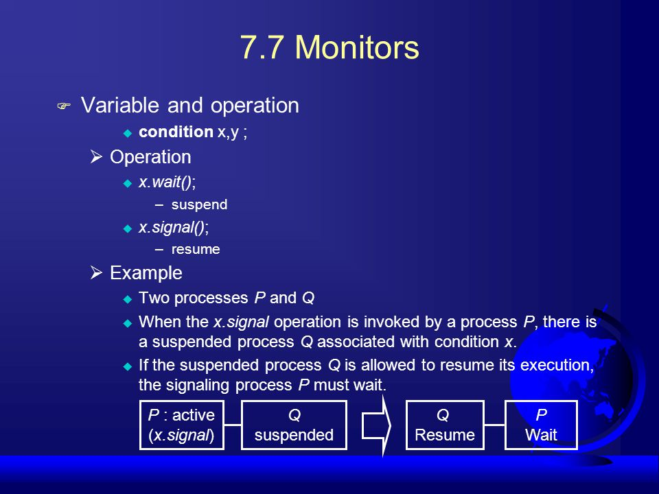 7.7 Monitors Variable and operation Operation Example condition x,y ;