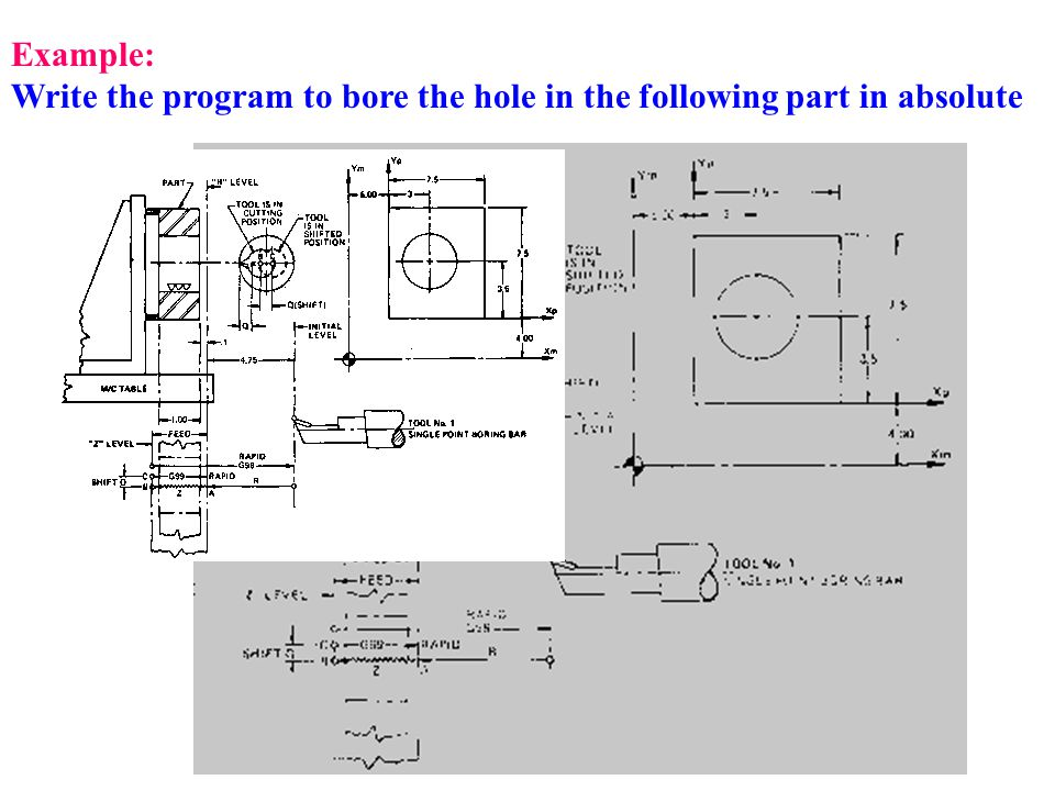 Example: Write the program to bore the hole in the following part in absolute