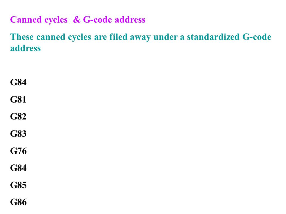 Canned cycles & G-code address