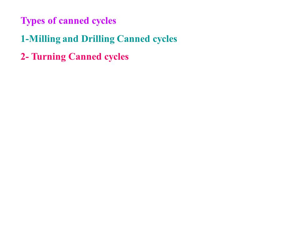Types of canned cycles 1-Milling and Drilling Canned cycles 2- Turning Canned cycles