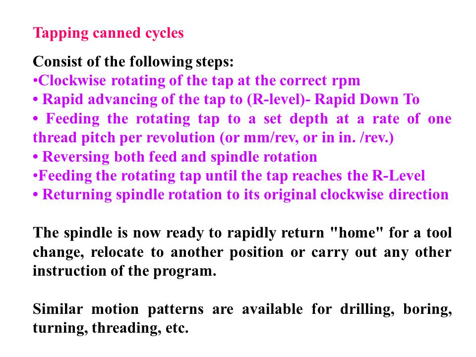 Tapping canned cycles Consist of the following steps: Clockwise rotating of the tap at the correct rpm.