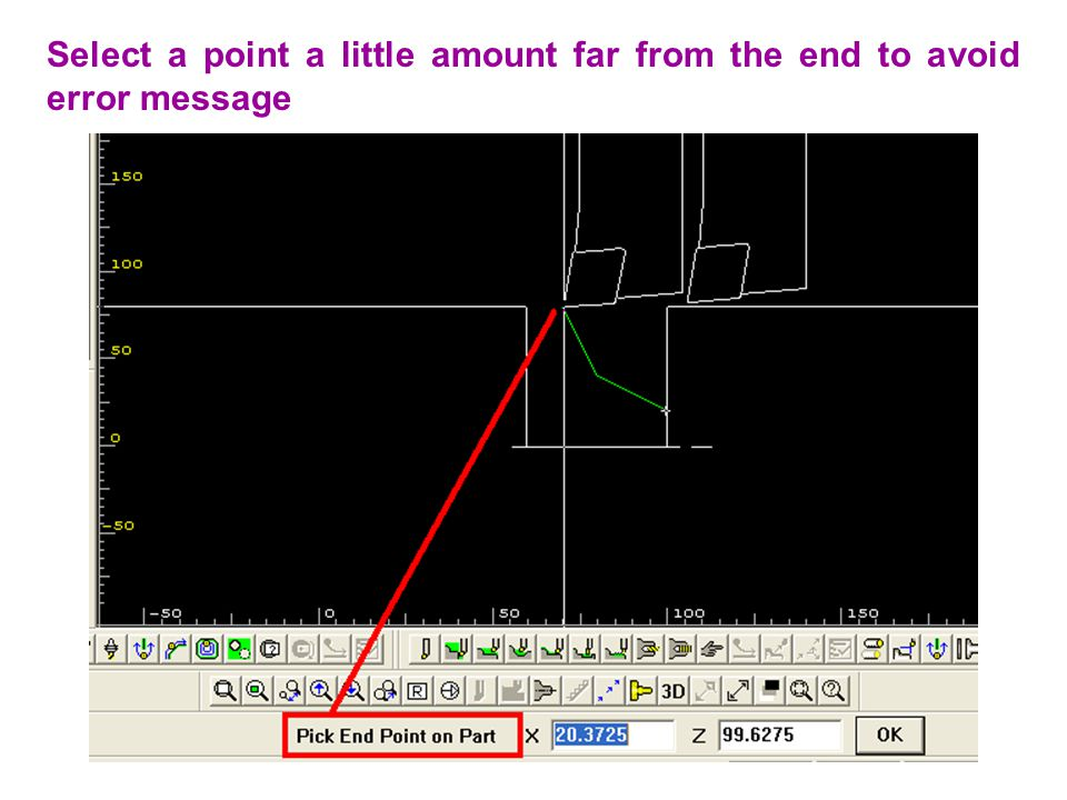 Select a point a little amount far from the end to avoid error message