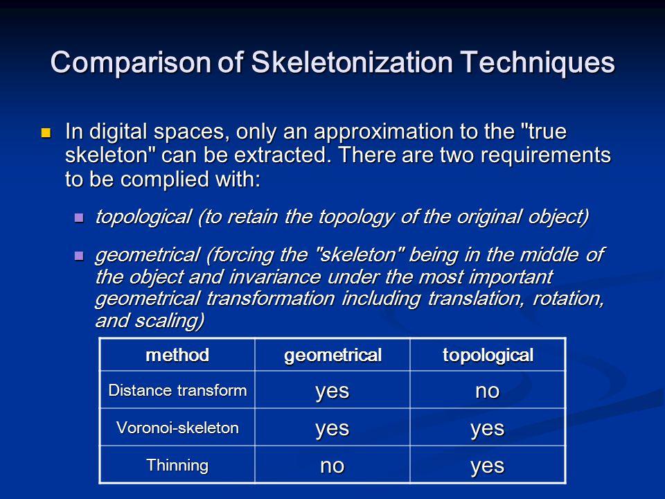 Comparison of Skeletonization Techniques