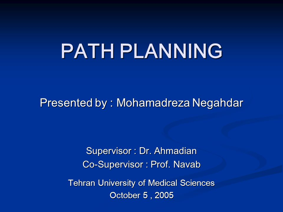 PATH PLANNING Presented by : Mohamadreza Negahdar