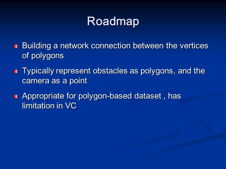 Roadmap Building a network connection between the vertices of polygons