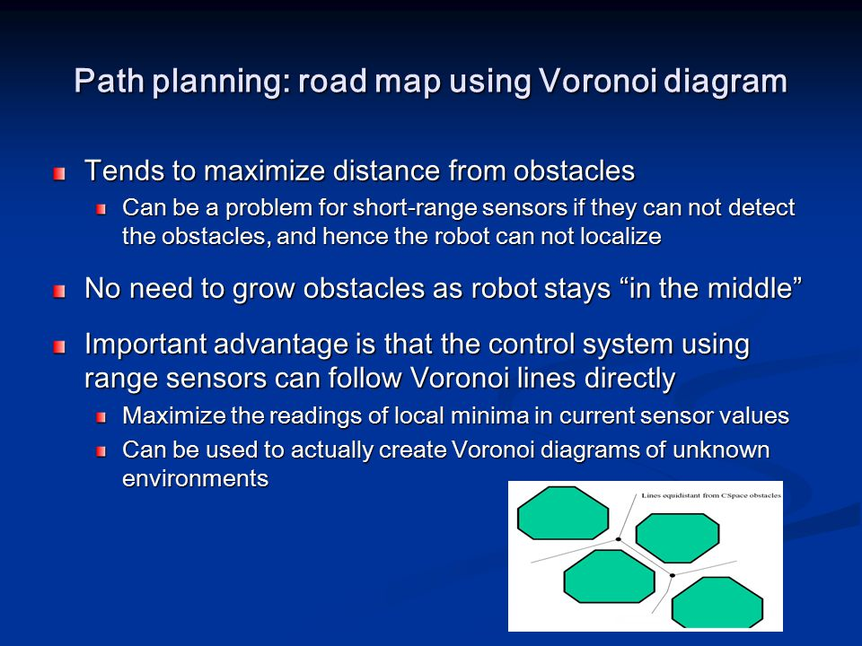 Path planning: road map using Voronoi diagram