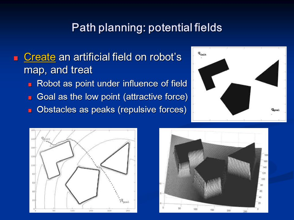 Path planning: potential fields