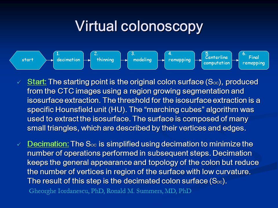 Virtual colonoscopy 1. 2. 3. 4. 5. 6. Centerline computation. Final remapping. start. decimation.