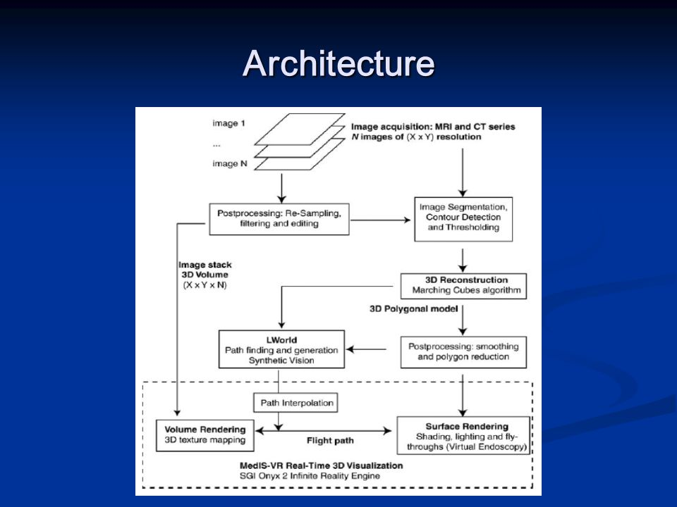Architecture Software architecture for virtual endoscopy with automatic path searching for interactive navigation support.