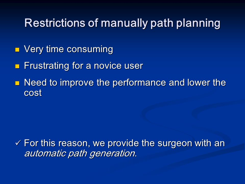 Restrictions of manually path planning