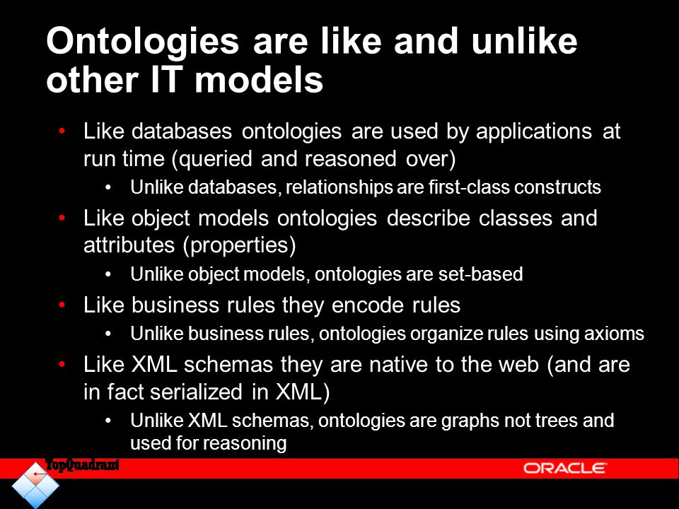 Ontologies are like and unlike other IT models