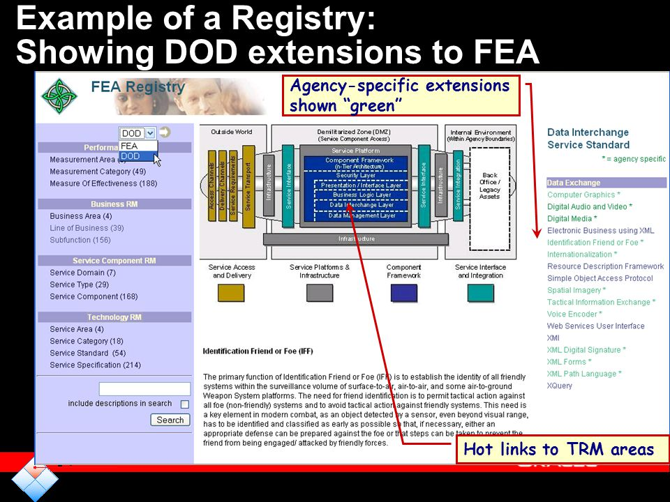 Example of a Registry: Showing DOD extensions to FEA