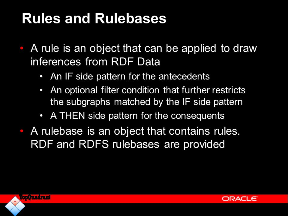 Rules and Rulebases A rule is an object that can be applied to draw inferences from RDF Data. An IF side pattern for the antecedents.