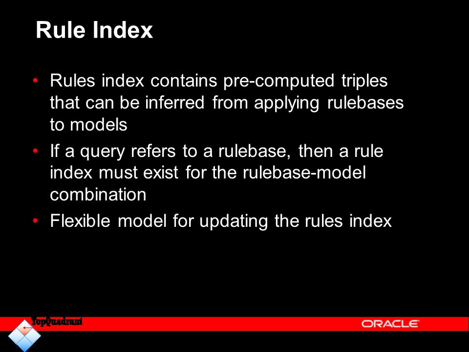 Rule Index Rules index contains pre-computed triples that can be inferred from applying rulebases to models.