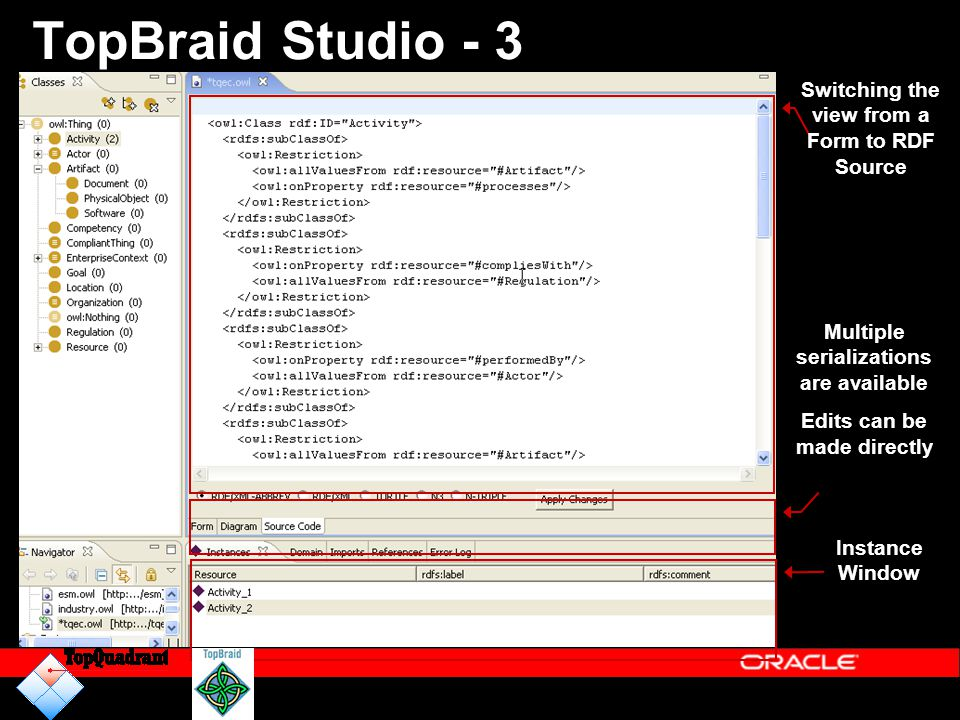TopBraid Studio - 3 Switching the view from a Form to RDF Source