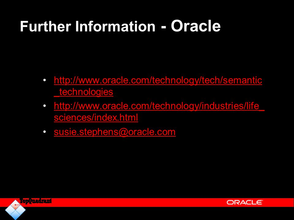 Further Information - Oracle