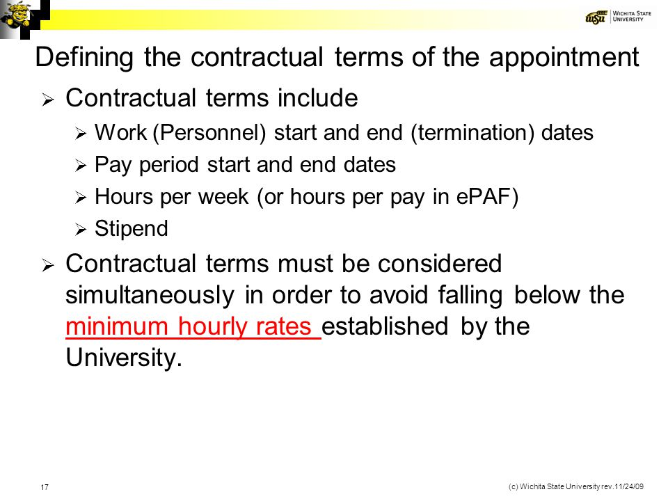 Defining the contractual terms of the appointment