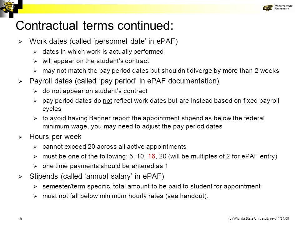 Contractual terms continued:
