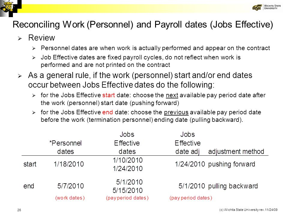 Reconciling Work (Personnel) and Payroll dates (Jobs Effective)