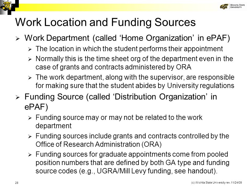 Work Location and Funding Sources