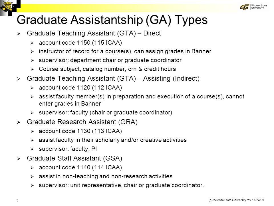 Graduate Assistantship (GA) Types