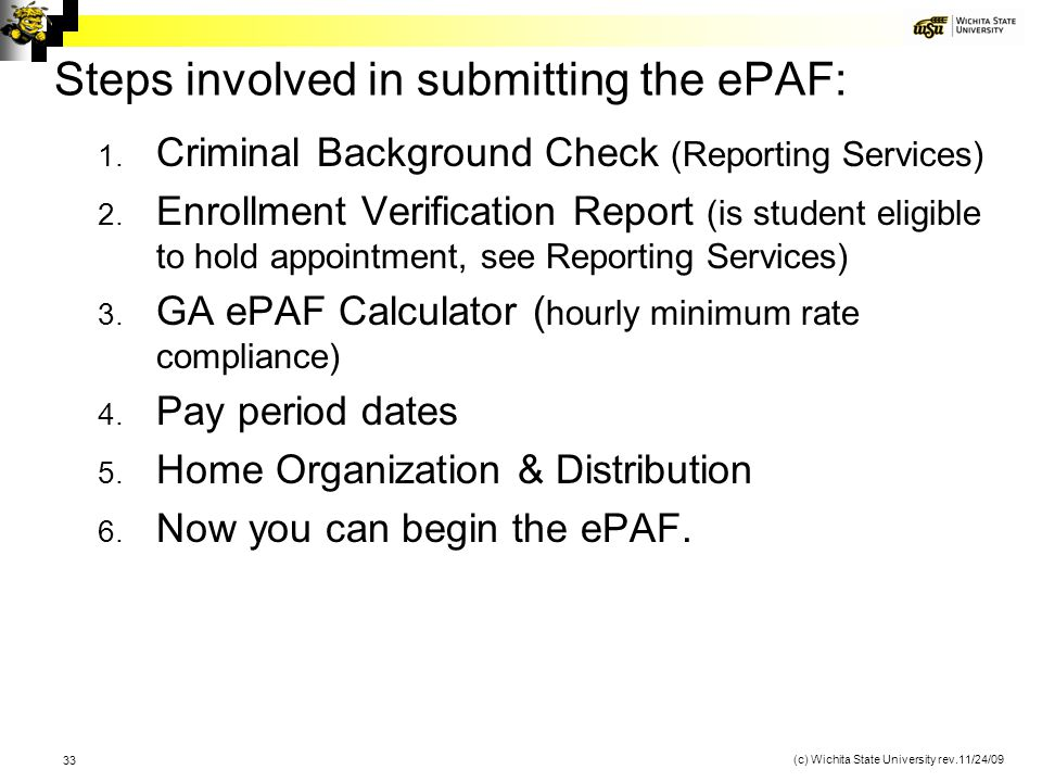Steps involved in submitting the ePAF: