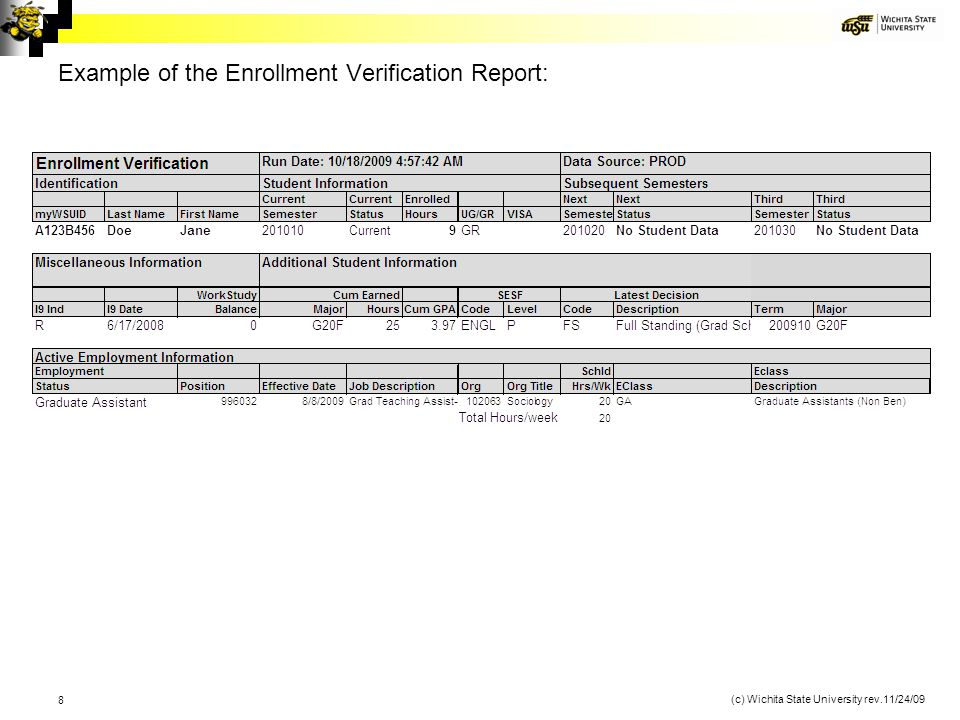 Example of the Enrollment Verification Report: