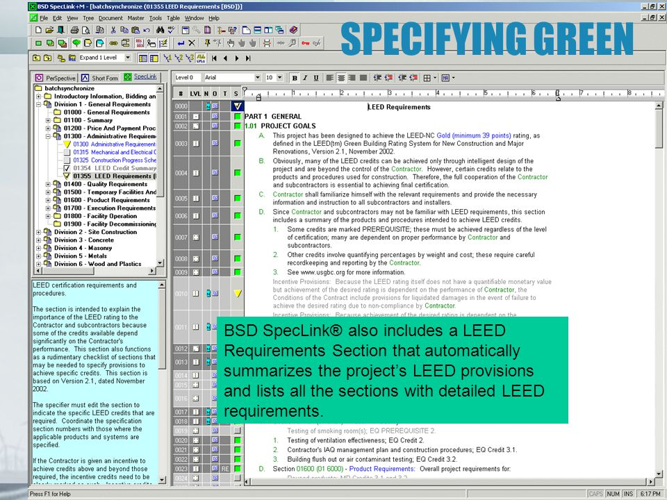 SPECIFYING GREEN