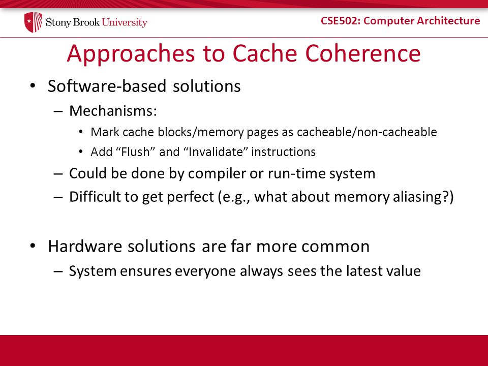 Approaches to Cache Coherence