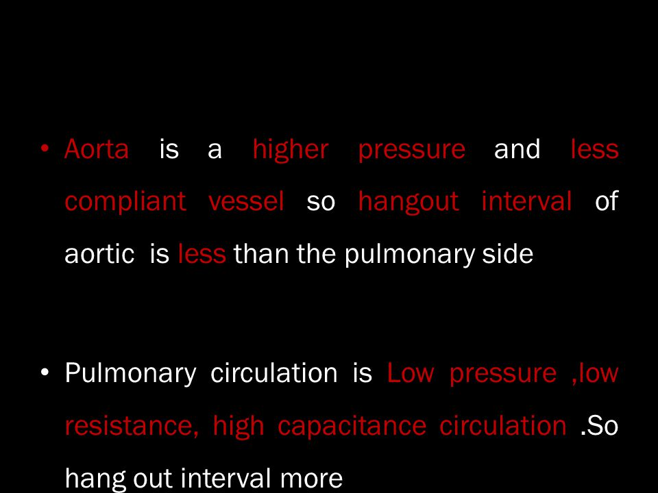 Aorta is a higher pressure and less compliant vessel so hangout interval of aortic is less than the pulmonary side