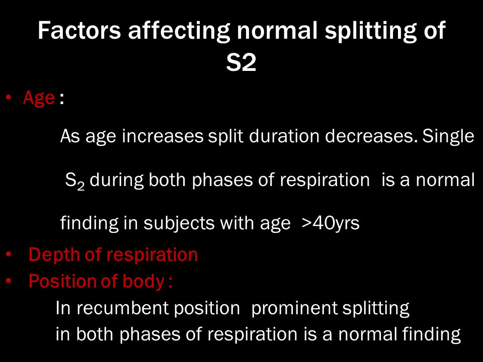 Factors affecting normal splitting of S2
