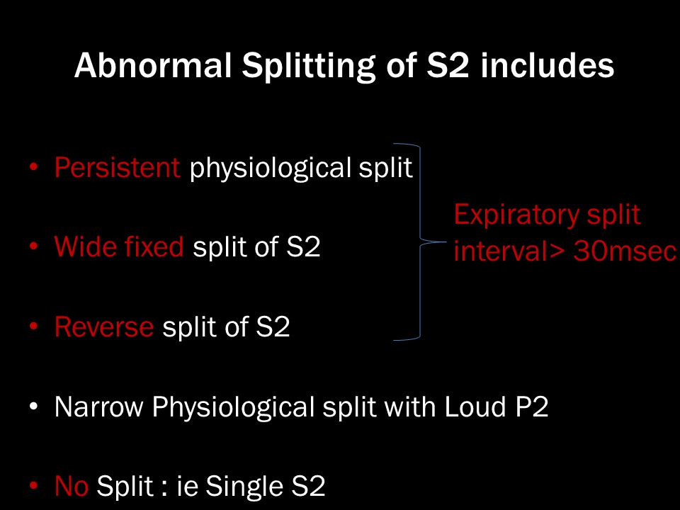 Abnormal Splitting of S2 includes