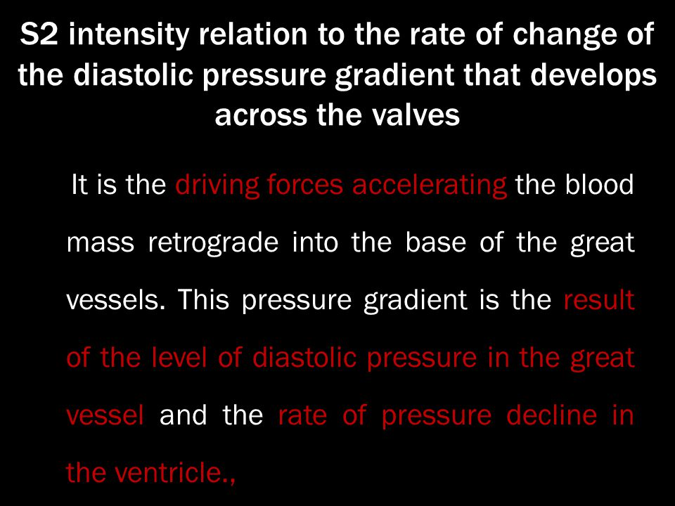 S2 intensity relation to the rate of change of the diastolic pressure gradient that develops across the valves