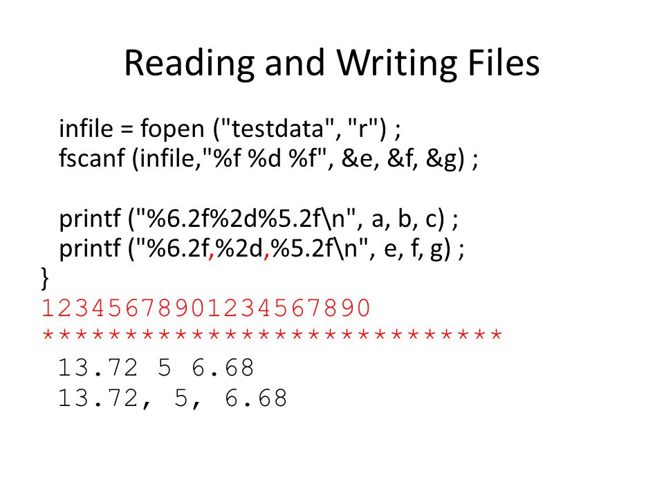 Reading and Writing Files