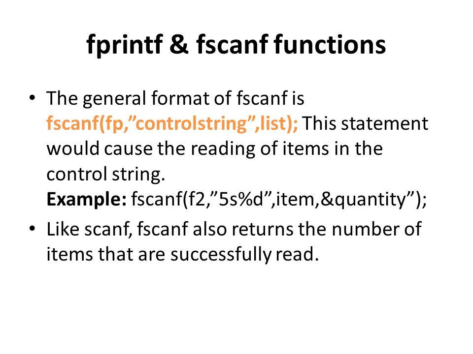 fprintf & fscanf functions
