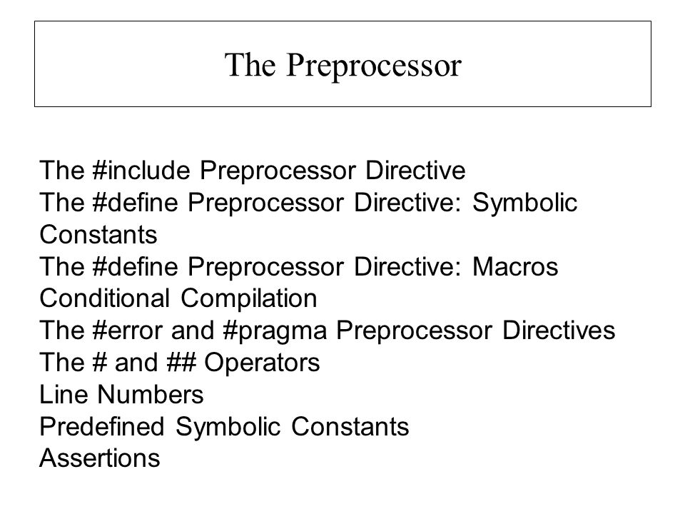 The Preprocessor The #include Preprocessor Directive