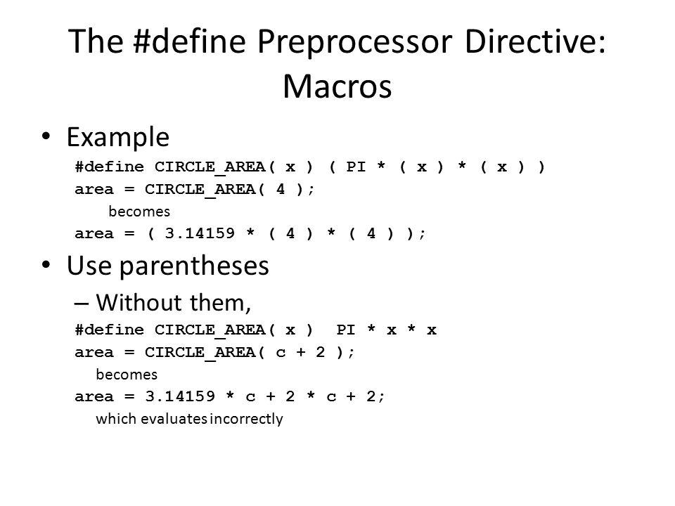 The #define Preprocessor Directive: Macros