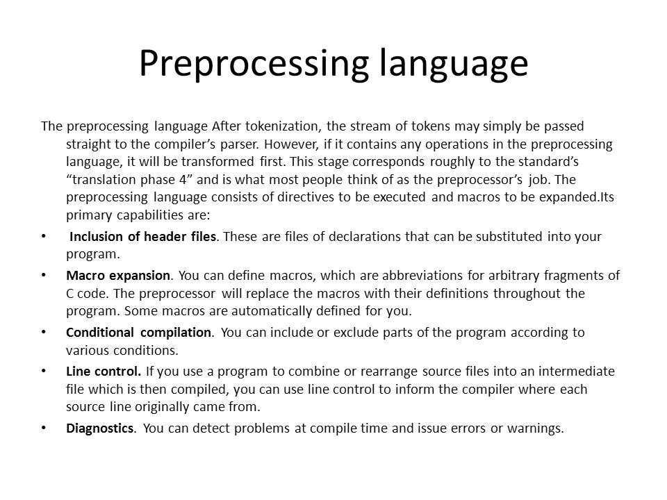 Preprocessing language