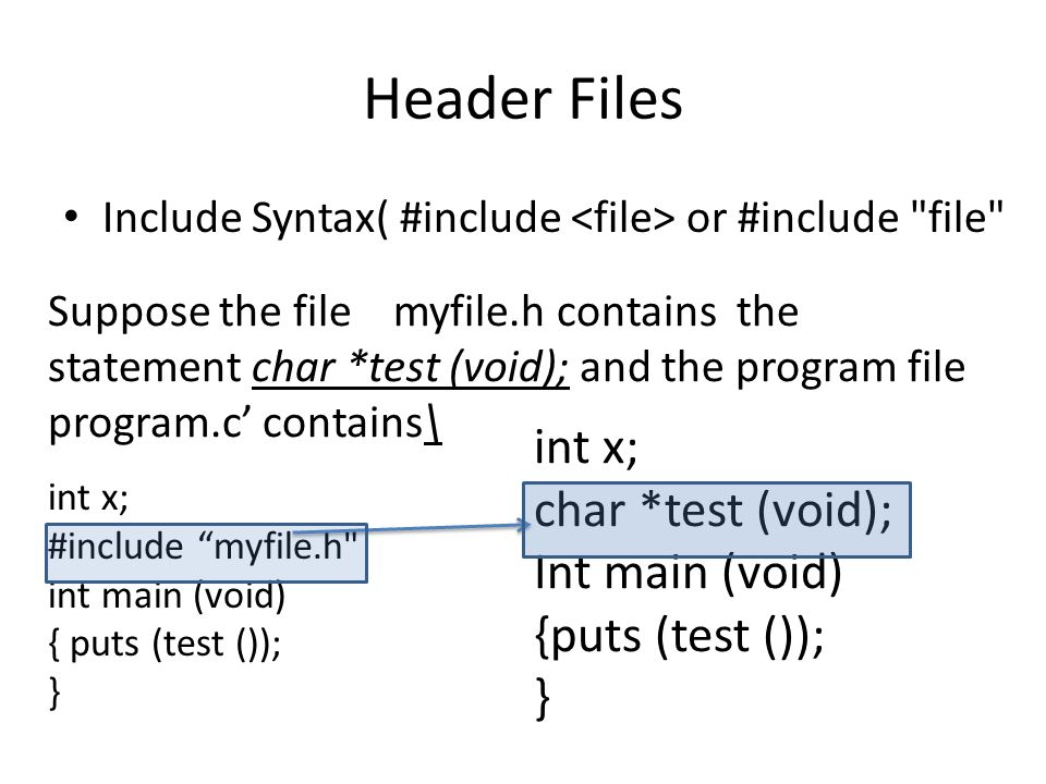 Header Files int x; char *test (void); Int main (void)