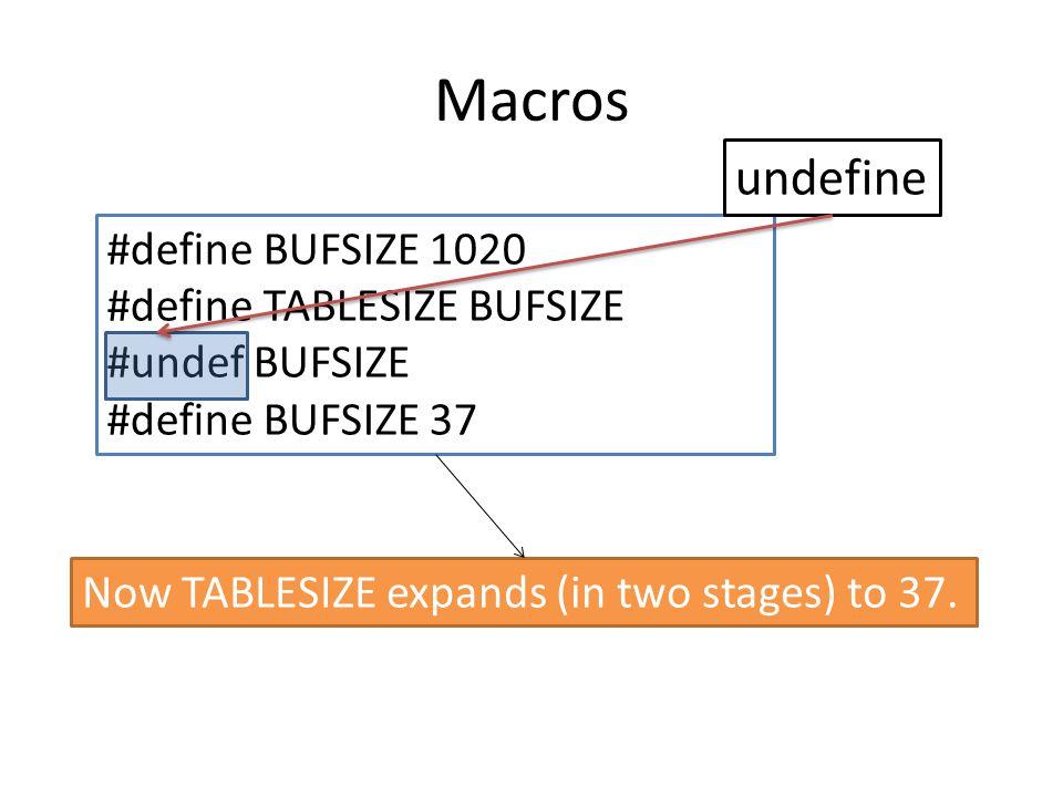 Macros undefine #define BUFSIZE 1020 #define TABLESIZE BUFSIZE