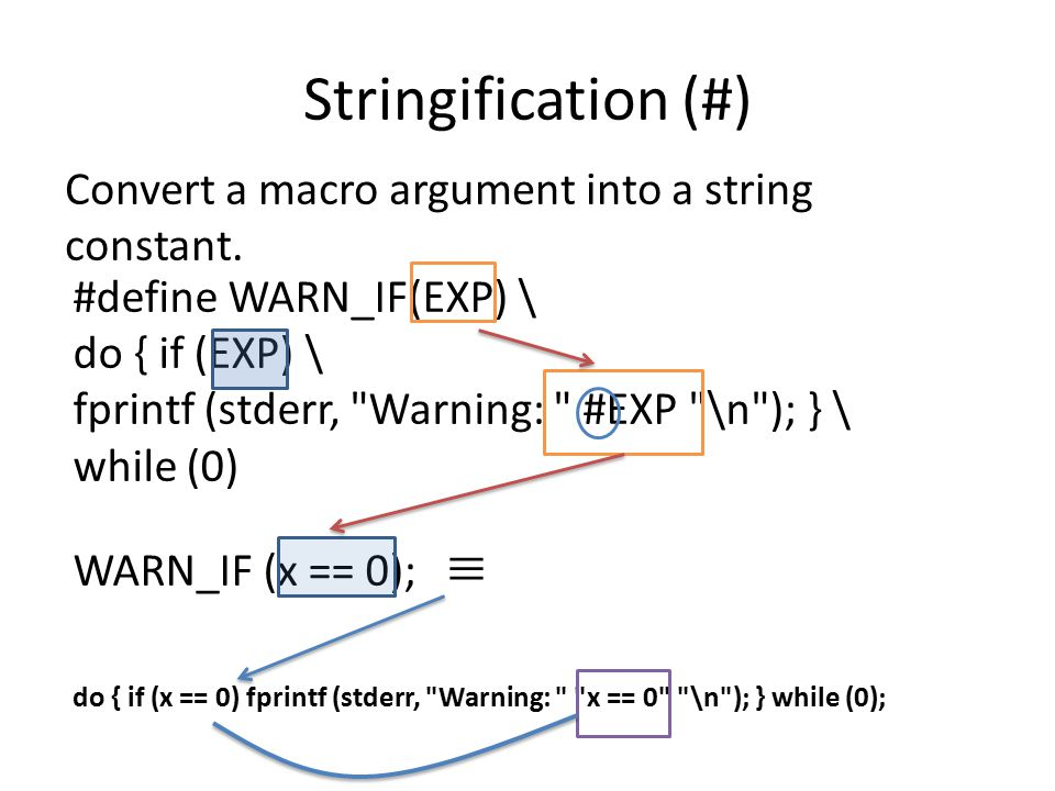 Stringification (#) Convert a macro argument into a string constant.