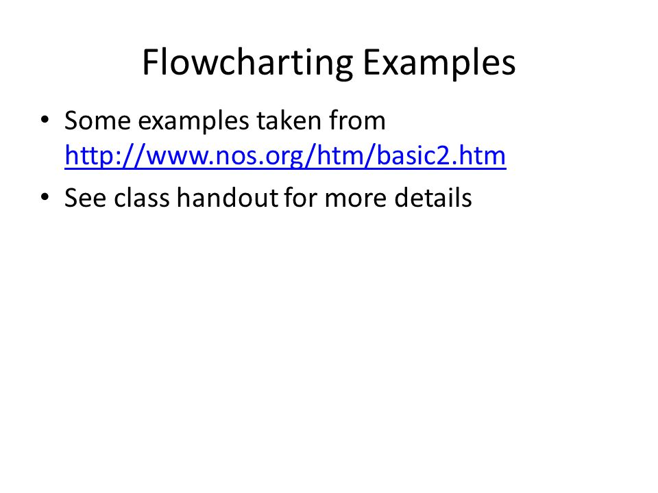 Flowcharting Examples