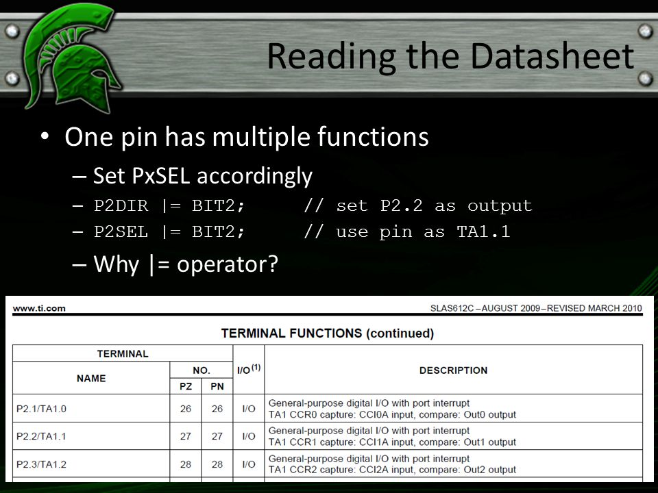Reading the Datasheet One pin has multiple functions