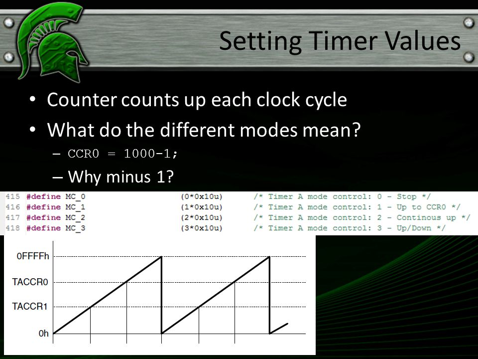 Setting Timer Values Counter counts up each clock cycle