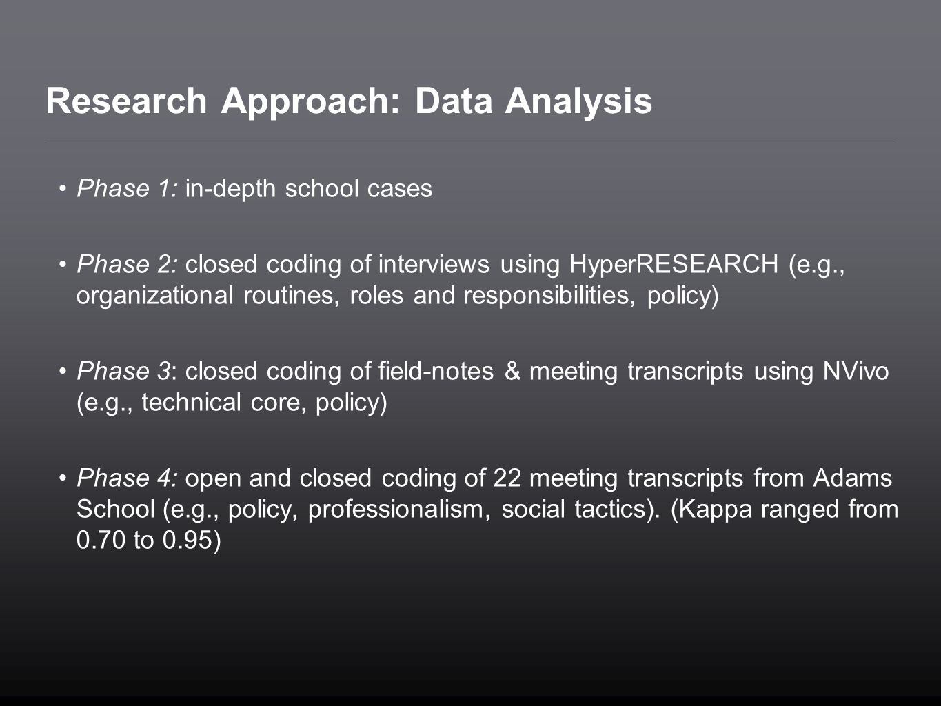 Research Approach: Data Analysis
