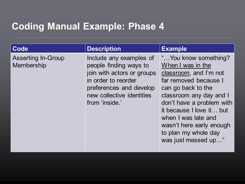 Coding Manual Example: Phase 4