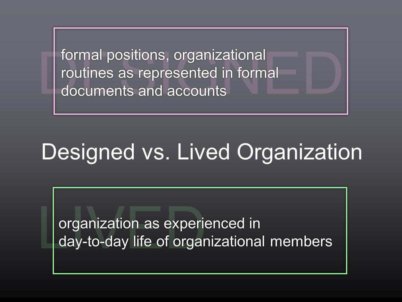 Designed vs. Lived Organization