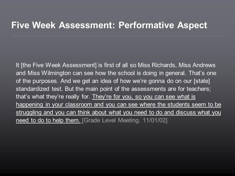 Five Week Assessment: Performative Aspect
