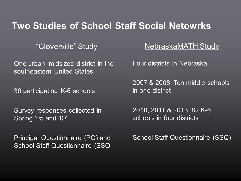 Two Studies of School Staff Social Netowrks