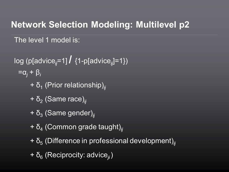 Network Selection Modeling: Multilevel p2